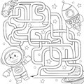 Help cosmonaut find path to rocket. Labyrinth. Maze game for kids. Black and white vector illustration for coloring book Royalty Free Stock Photo