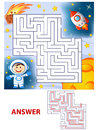 Help cosmonaut find path to rocket. Labyrinth. Maze game for kids Royalty Free Stock Photo
