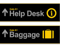 Help desk and baggage airport signs Royalty Free Stock Images