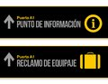 Help desk and baggage airport signs in Spanish Stock Image