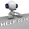 Help desk managed by a little white man with headset white background concept of support and customer care Royalty Free Stock Photos