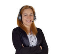 Help desk woman with headset Royalty Free Stock Photo