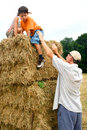 Help down the hay bale Stock Photo