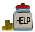 Help jar shows monetary support or contribution showing Royalty Free Stock Photos
