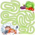 Help little chefs find path to vegetable. Labyrinth. Puzzle. Maze game for kids