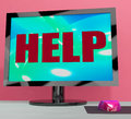 Help on monitor shows helpline helpdesk or support showing Royalty Free Stock Images