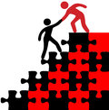 Help person join find solution people hands to problem puzzle Royalty Free Stock Photography