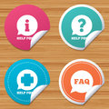 Help point icons question information symbol round stickers or website banners and symbols faq speech bubble signs circle badges Stock Photos