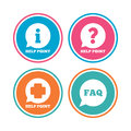 Help point icons question information symbol and symbols faq speech bubble signs colored circle buttons vector Royalty Free Stock Image