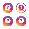 Help point sign icon question symbol gradient buttons with flat speech bubble vector Royalty Free Stock Images