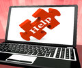 Help Puzzle On Laptop Shows Online Support Royalty Free Stock Photos