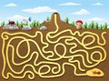 Help red ant to find way out from underground maze Royalty Free Stock Photo