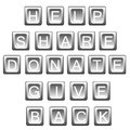 Help share donate in keyboard letters words related to helping give back isolated on white Stock Image