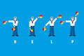 Help signal shown with flag semaphore system