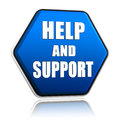 Help and support in hexagon button Royalty Free Stock Image