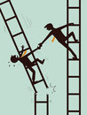 Help and survive in business businessman giving hand to another businessman who is on broken ladder concept on support together Royalty Free Stock Image