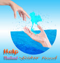 Help Thailand water Flood Royalty Free Stock Photos