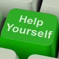 Help yourself key shows self improvement online showing Royalty Free Stock Photos
