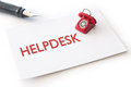Helpdesk contact cards with small phone Stock Photos