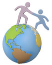Helper reach help friend up global world person reaches out helping hand to a on top of the Stock Photo