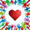 Helpful volunteer hands sharing love