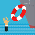 Helping business survive representing drowning businessman getting lifebuoy from big ship for help support and survival Stock Photo
