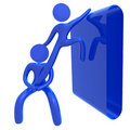 Helping friend 3d public sign icon Royalty Free Stock Photo