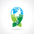 Helping hand make tree on earth - vector illustration Royalty Free Stock Photo