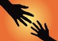 Helping hand orange background vector illustration Stock Photography