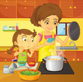 Helping mom at home Royalty Free Stock Photo