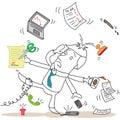 Helpless businessman failing to multitask Stock Photos