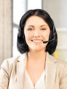 Helpline bright picture of friendly female operator Royalty Free Stock Photography