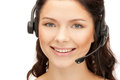 Helpline bright picture of friendly female operator Stock Images