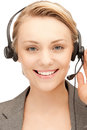 Helpline bright picture of friendly female operator Royalty Free Stock Photo