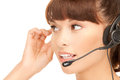Helpline bright picture of friendly female operator Stock Photo
