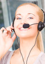 Helpline bright picture of friendly female operator Royalty Free Stock Image