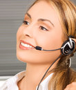 Helpline bright picture of friendly female operator Stock Photos