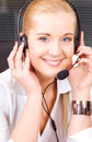 Helpline bright picture of friendly female operator Royalty Free Stock Photos