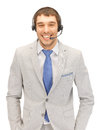Helpline bright picture of friendly male operator Stock Image