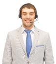 Helpline bright picture of friendly male operator Royalty Free Stock Photo