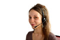 Helpline female customer support operator with headset and smiling Stock Image