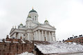 Helsinki cathedral in winter finnish evangelical lutheran of the diocese of Stock Image