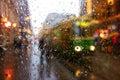 Helsinki city tram on Aleksanterikatu street on wet December afternoon Royalty Free Stock Photo