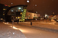Helsinki contemporary architecture by snow fall winter scene in finland modern snowfall winter scene Stock Photo