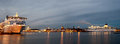 Helsinki finland december silja line and viking line ferries in port of the city of helsinki paromy Stock Photo