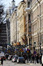 Helsinki finland – march pohjoisesplanadi street in the center of the capital of with shops selling finnish Royalty Free Stock Photos