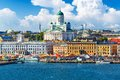 Helsinki finland scenic summer panorama of the market square kauppatori at the old town pier in Royalty Free Stock Photo