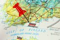 Helsinki map with pin close up of on a red Royalty Free Stock Image