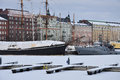 Helsinki old harbour and ships in winter scene of frozen port finland Royalty Free Stock Photography