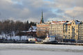 Helsinki old harbour in winter scene of frozen port historical buildings finland Royalty Free Stock Photography